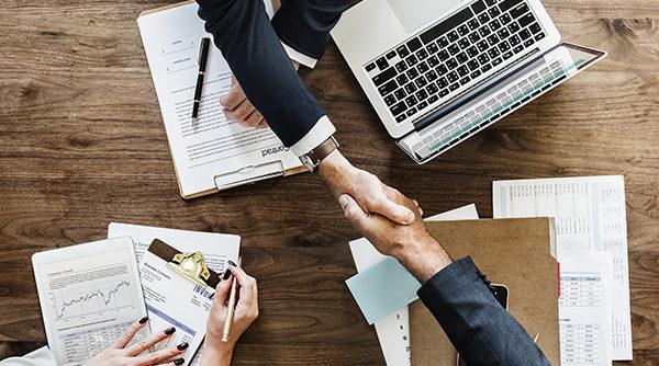 Handshake, Bank, Desk, Hand, Contract